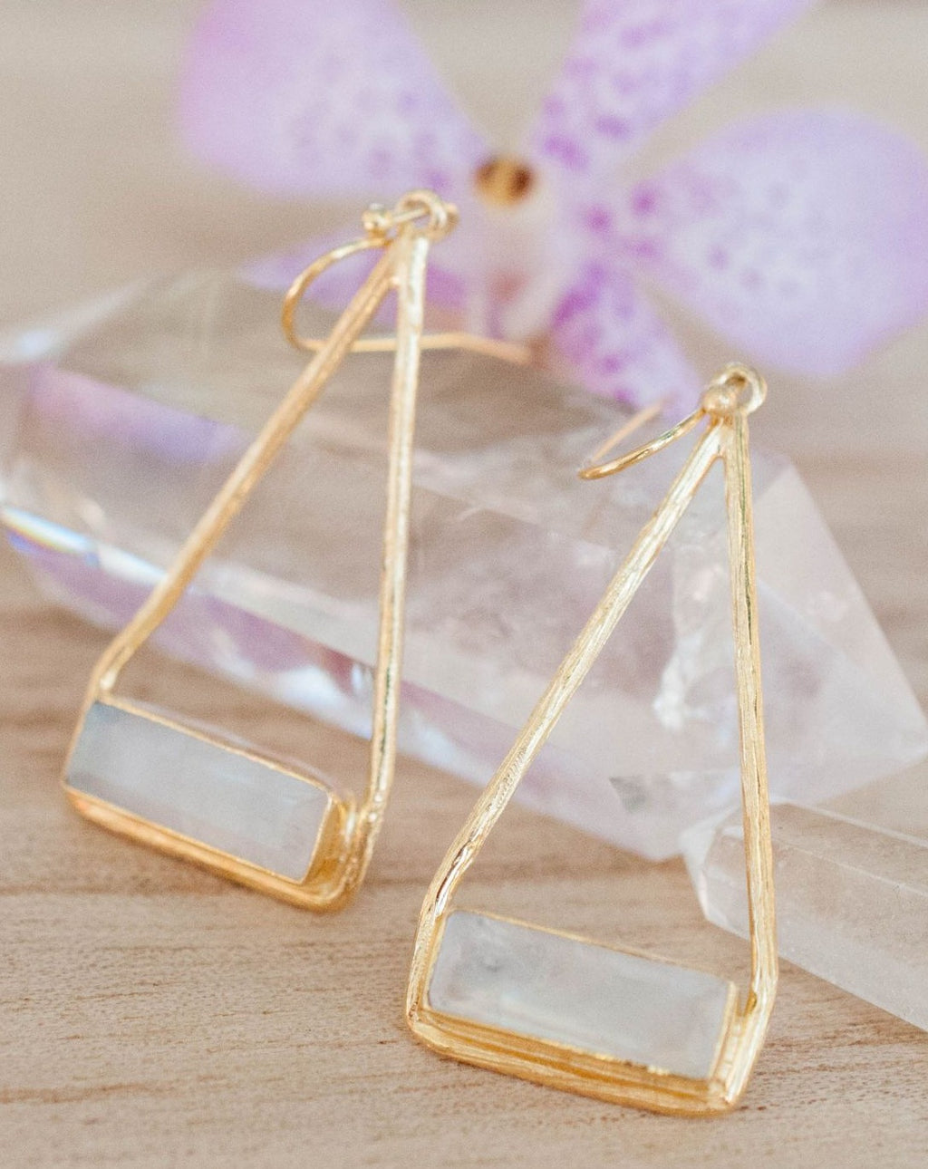 Marina Earrings * Moonstone * Gold Plated 18k or Silver Plated * BJE001A
