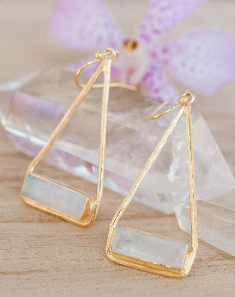 Marina Earrings * Moonstone * Gold Plated 18k or Silver Plated * BJE001B