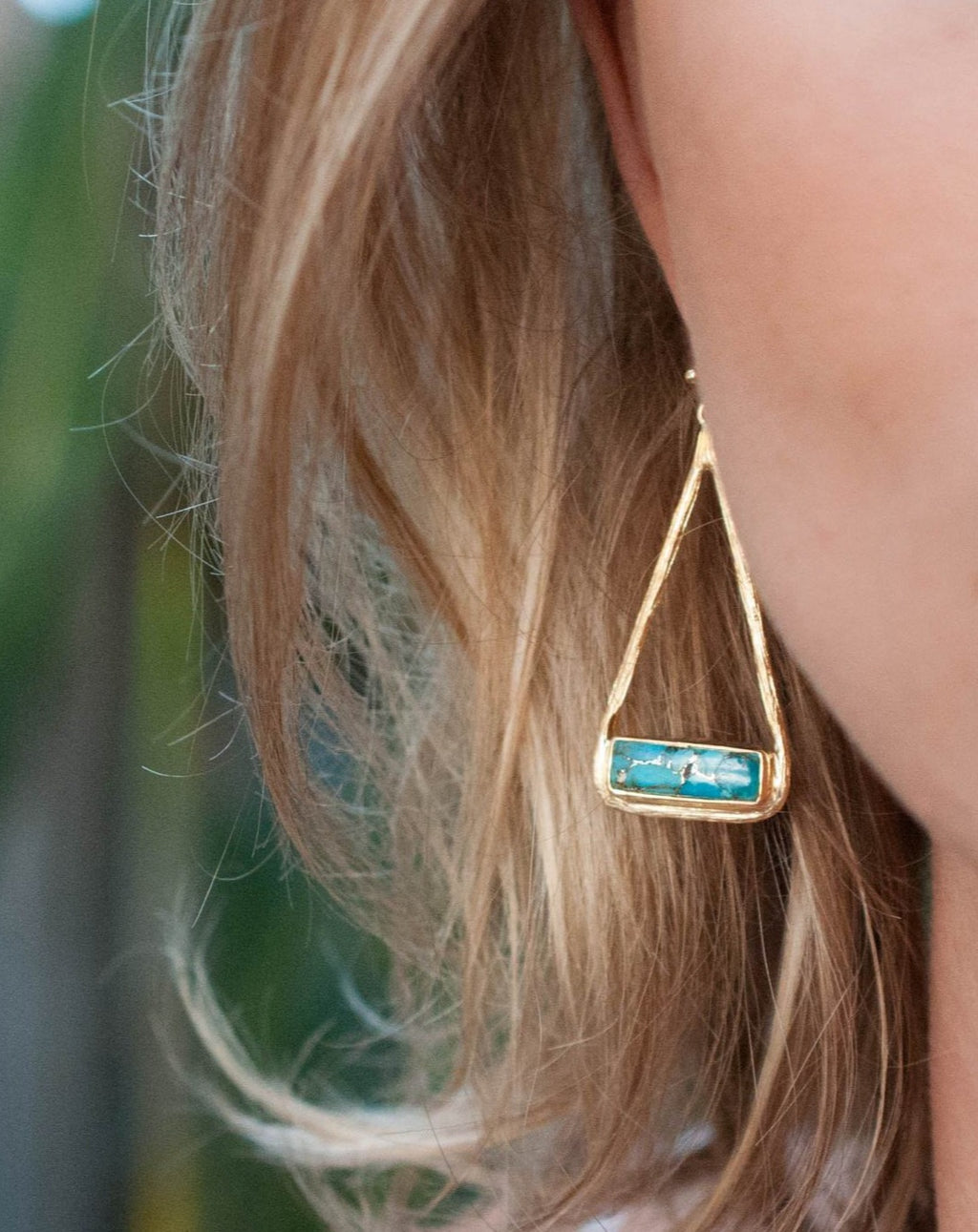 Marina Earrings * Copper Turquoise * Gold Plated 18k or Silver Plated * BJE002A