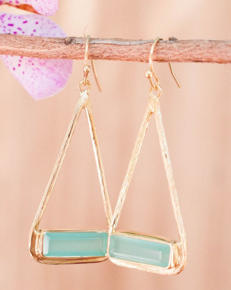 Marina Earrings * Aqua Chalcedony * Gold Plated 18k or Silver Plated * BJE005A