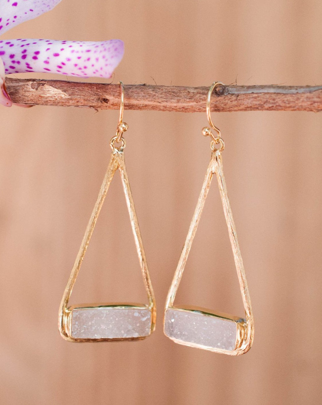 Marina Earrings * White Druzy * Gold Plated 18k or Silver Plated * BJE007A