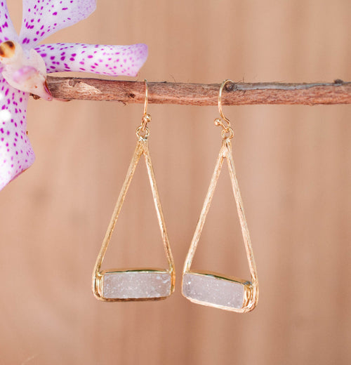 Marina- White Druzy Gold Earrings (BJE001G)