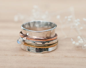 Moonstone Spinner Ring *Meditation *Spinning * Spin *Anxiety *Sterling Silver 925 *Copper *Bronze * Jewelry * Bycila * Handmade *Yoga BJS030