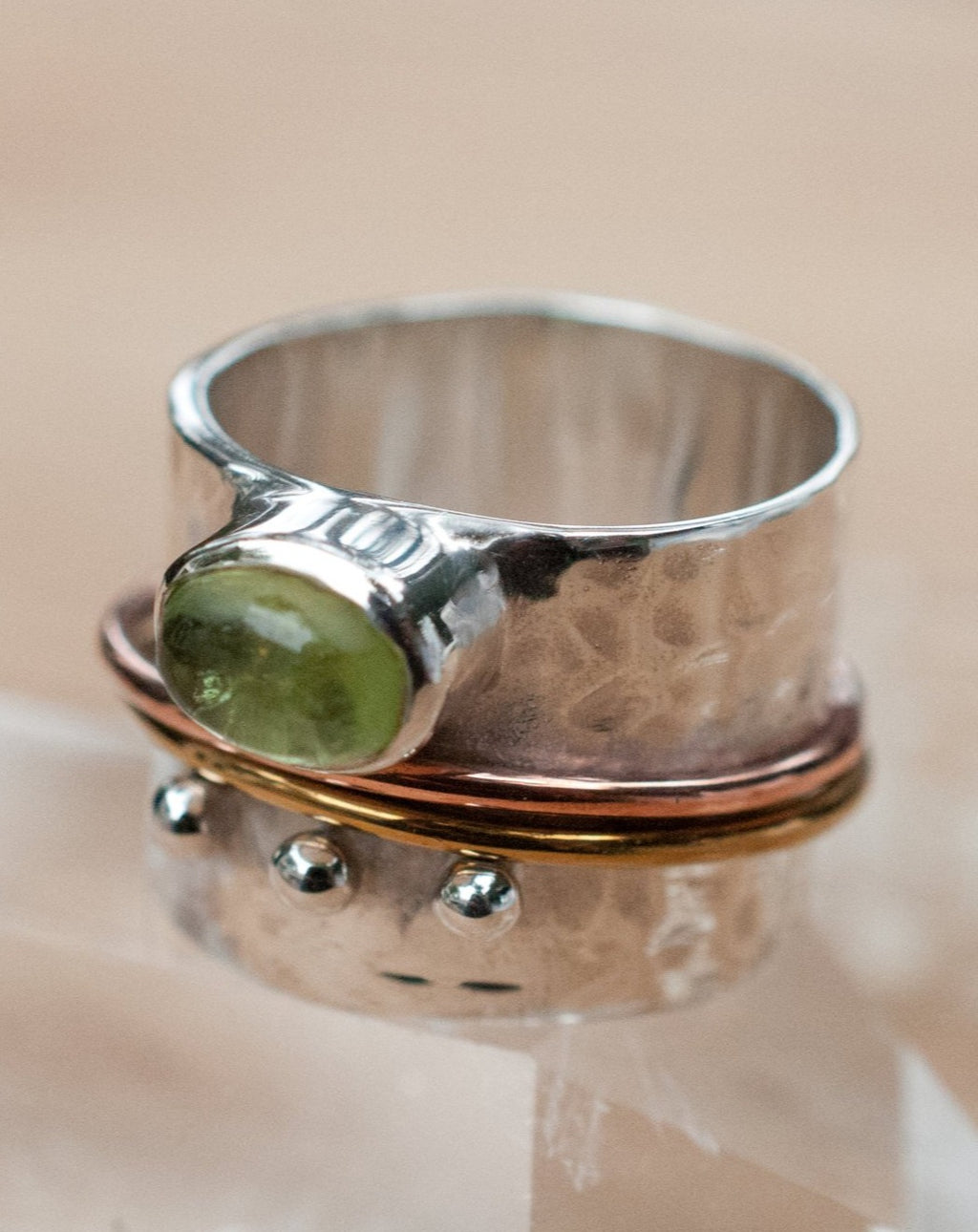 Peridot Spinner Ring * Meditation * Spinning * Spin * Anxiety * Sterling Silver 925 * boho* Bronze * Jewelry * Bycila *Handmade *Yoga BJS018