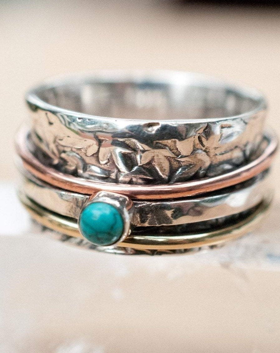 Spinner Ring Turquoise* Meditation Ring * Spinning Ring* Statement Ring* Spin Ring*Worry Ring* Mix Metals Ring* Silver Ring BJS010