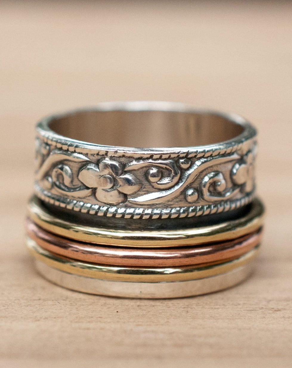Spinner Ring * Meditation * Spinning * Spin * Anxiety * Sterling Silver 925 * Copper * Bronze * Jewelry * Bycila * Handmade * Yoga * BJS036
