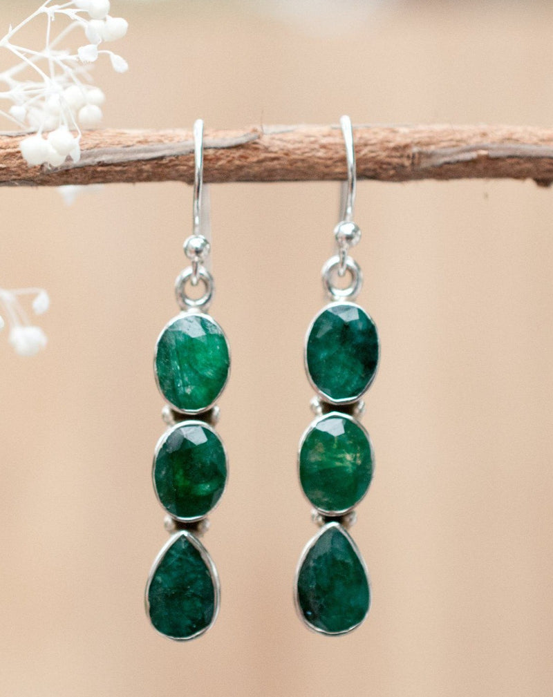Kelly Earrings * Emerald * Sterling Silver 925 * BJE024