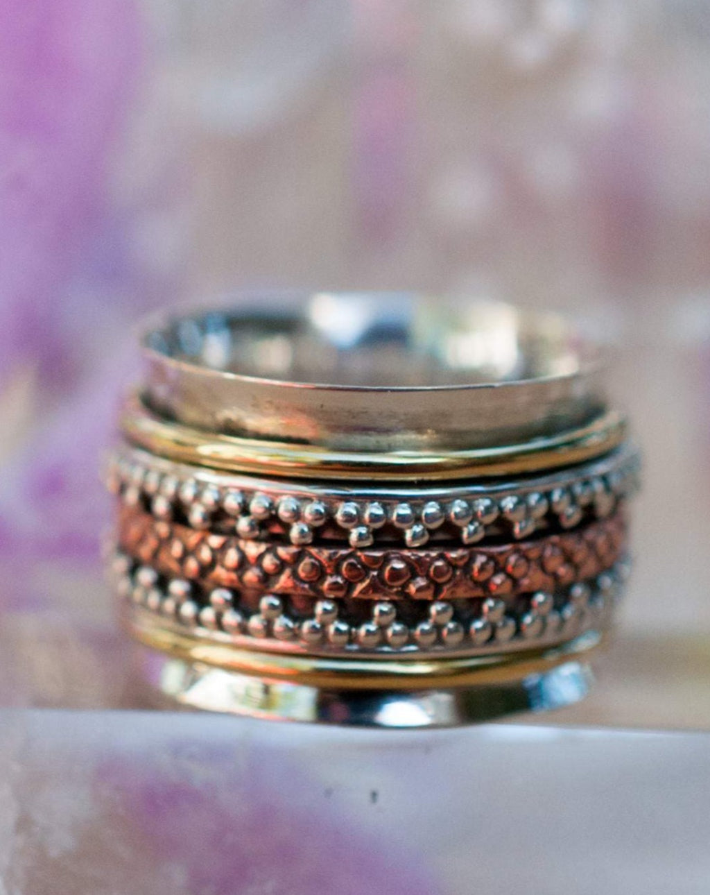 Meditation Ring * Spinner * Spinning * Anxiety * Worry * Boho * Spin * Thick Band * Sterling Silver 925 * Copper * Bronze * Handmade*BJS037
