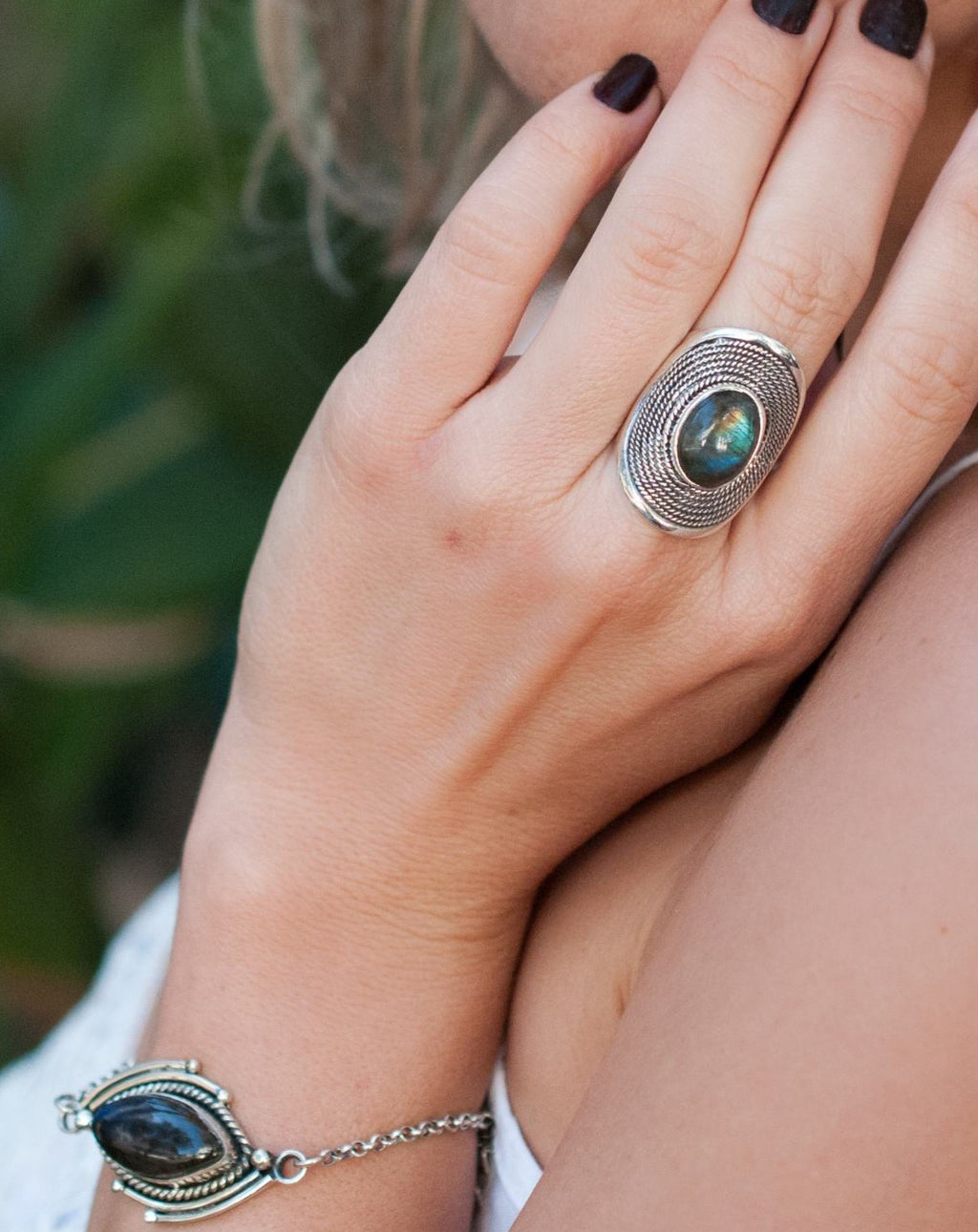 Labradorite Ring * Sterling Silver 925 * Statement * Gemstone * Designed Band *Bycila *Jewelry * Handmade *February *March Birthstone BJR198