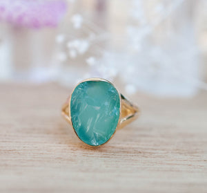 Gold Plated 18k Raw Aqua Chalcedony * Gemstone Ring * Handmade * Statement * Natural * Organic * Gift * Jewelry*Bycila*May Birthstone*BJR229