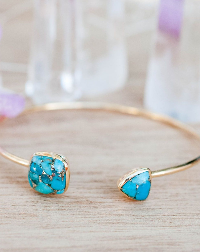 Copper Turquoise Bangle Bracelet *Gold Plated 18k or Silver Plated* Gemstone * Gypsy * Adjustable * Statement *  Stacking * BJB003A
