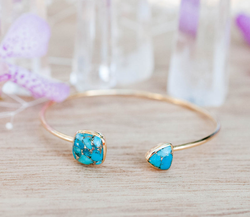 Copper Turquoise Bangle Bracelet *Gold Plated 18k or Silver Plated* Gemstone * Gypsy * Adjustable * Statement *  Stacking * BJB003B