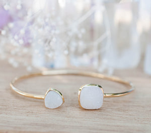 White Druzy Bohemian Bangle Bracelet *Gold Plated 18k or Silver Plated * Gemstone * Gypsy * Hippie *  Adjustable*Statement*Stacking *BJB007A