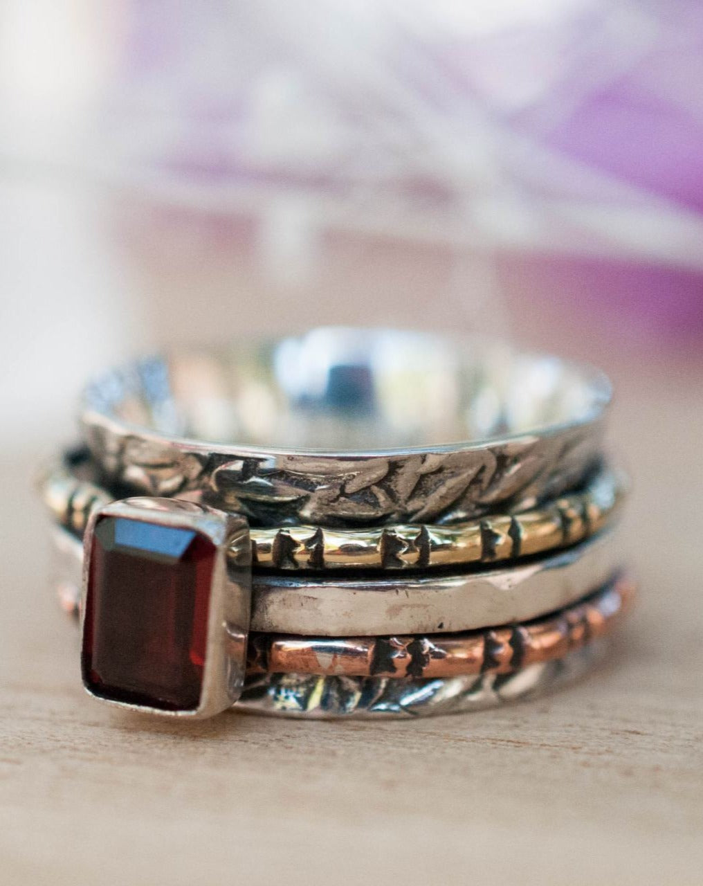 Garnet Ring * Meditation * Spinner * Spinning * Anxiety * Hammered * Worry * Boho * Spin * Thin Band *Sterling Silver *Copper *Bronze BJS020