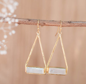 Moonstone Earrings Gold Plated 18k or Silver Plated * Dangle * Gemstone * Natural * Lightweight * Triangulum * Geometric * ByCila* BJE001B