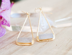 White Druzy Earrings Gold Plated 18k or Silver Plated * Dangle * Gemstone * Natural * Lightweight * Triangulum * Geometric * BJE007B
