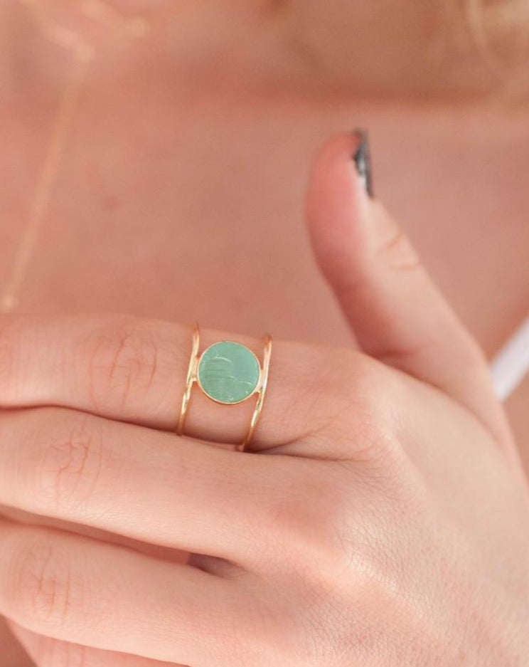 Rough Aqua Chalcedony Ring * Gemstone * Gold * Statement * Bohemian * Boho * Hippie * Jewelry * Bycila * Gift fot Her * Natural * Raw BJR012