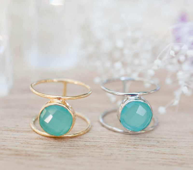 Aqua Chalcedony Ring * Gold * Statement * Gemstone * Organic * Natural * Handmade * Designed Band * Boho * Bohemian * Gypsy * Ring*BJR022