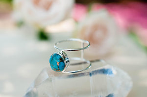 Turquoise Ring * Sterling Silver 925* Statement * Gemstone * Copper Turquoise * Organic * Ocean * Blue * Natural* Handmade* Thin Band BJR002