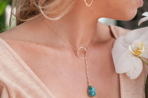 Copper Turquoise * Tear Drop * Lariat Necklace * Gold * Silver * Mix Metals * Gemstone * Statement * Bycila *Bridesmaid * BJN001-6E
