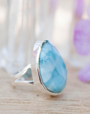 Larimar Ring * Tear Drop * Sterling Silver 925 * Gemstone * Natural * Statement * Handmade * Semi Precious Stone * Bohemian * Chic * BJR116