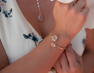 Rose Quartz Bangle Bracelet * Gold Plated 18k or Silver Plated * Gemstone * Gypsy * Hippie * Adjustable * Statement *  Stacking * BJB004B