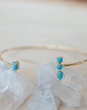 Copper Turquoise Bohemian Bangle Bracelet * Gold Plated 18k * Gemstone * Gypsy * Hippie *  Adjustable * Statement *  Stacking * BJB010