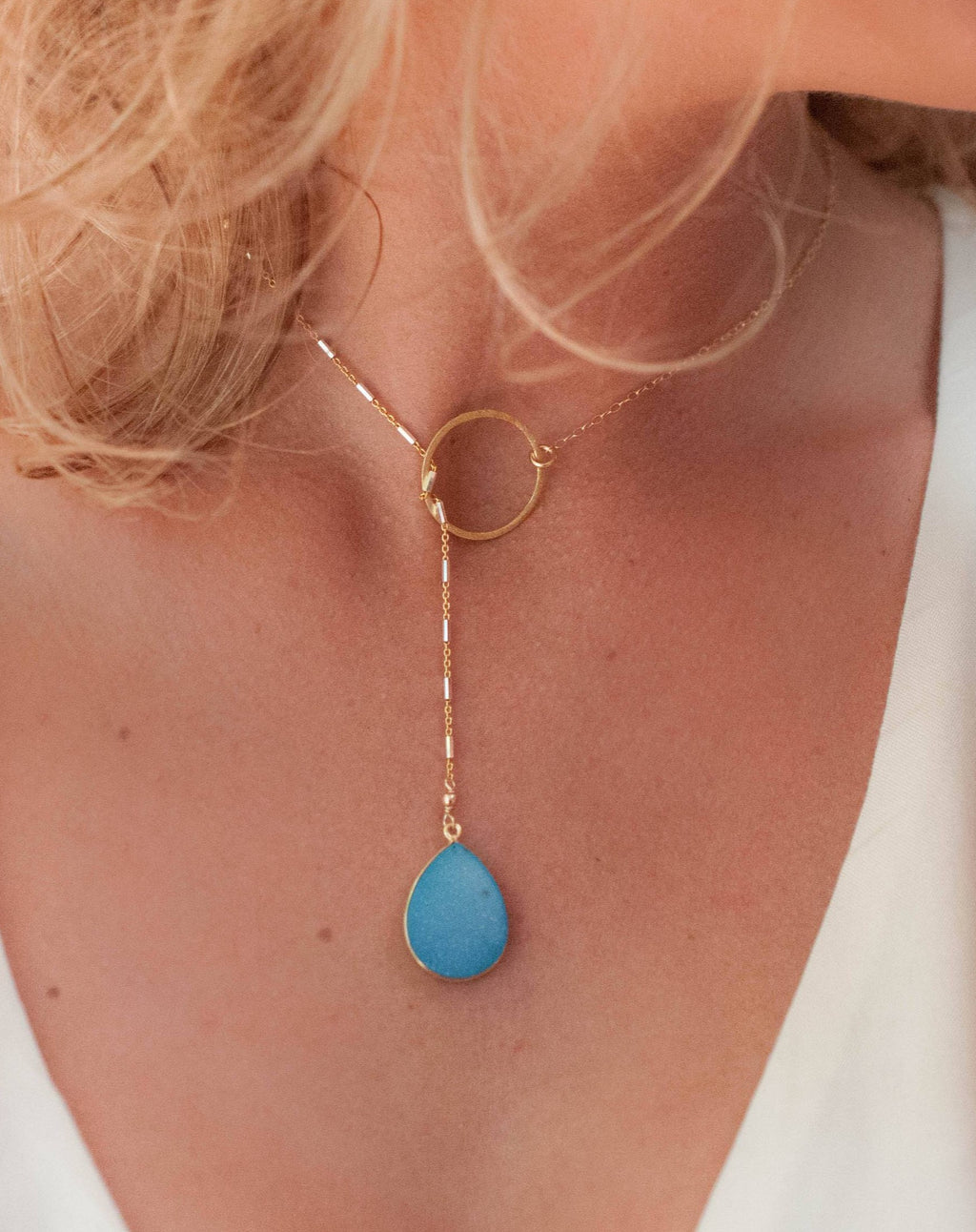 Blue Druzy * Tear Drop * Lariat Necklace * Gold * Silver * Mix Metals * Gemstone * Statement * Bycila *Bridesmaid *BJN001-21N