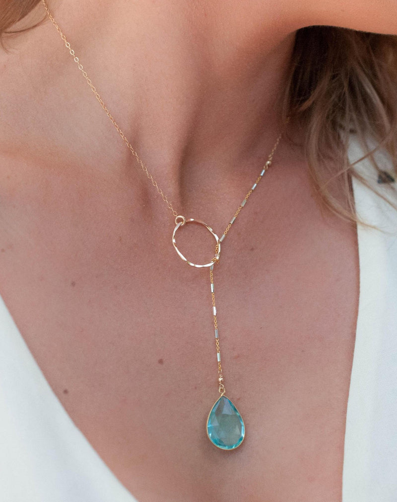 Blue Topaz * Tear Drop * Lariat Necklace * Gold * Silver * Mix Metals * Gemstone * Statement * Bycila *Bridesmaid *BJN001-9I