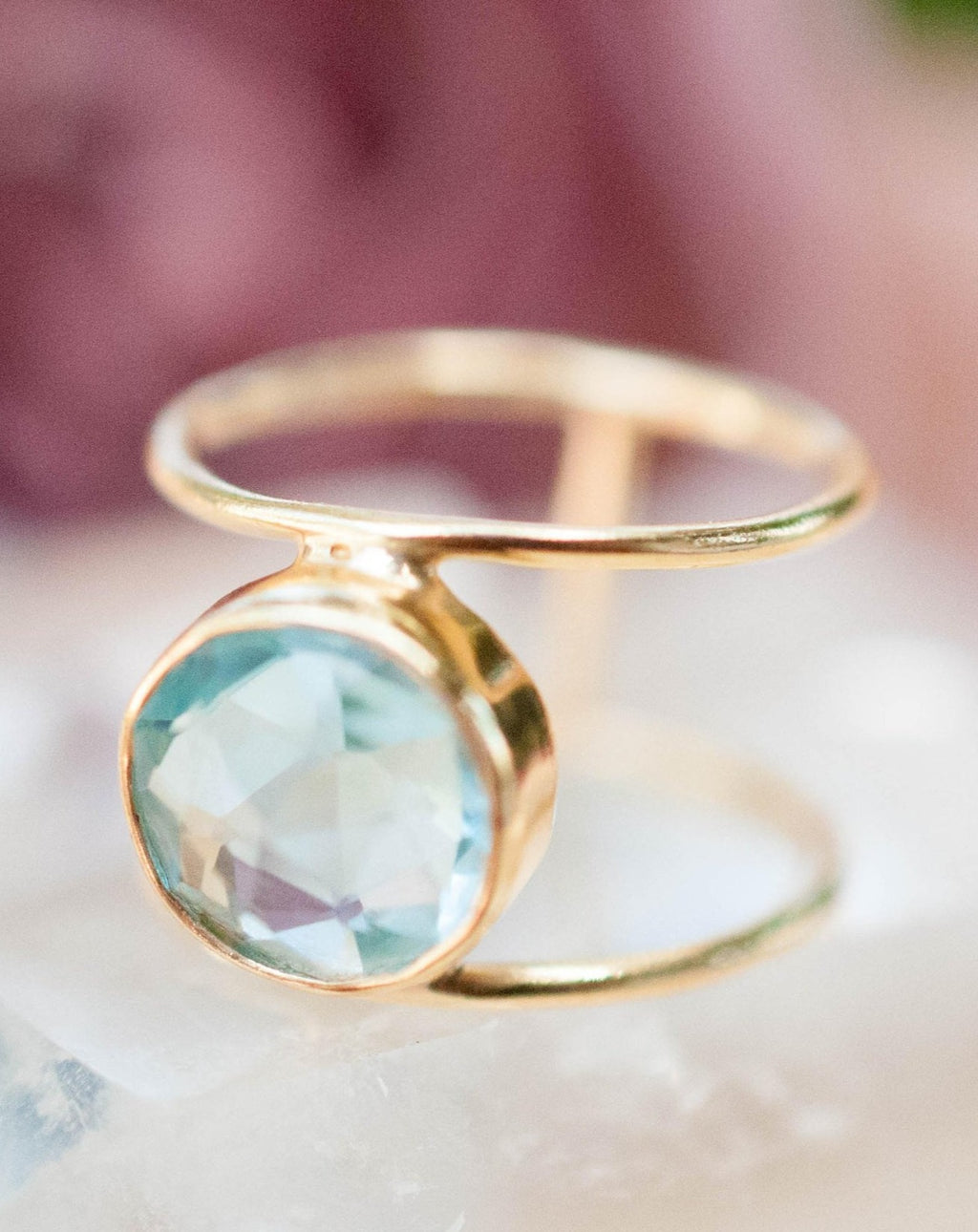 Blue Topaz Ring * Gold Ring * Statement Ring * Gemstone Ring * Blue * Bridal Ring * Wedding Ring * Organic Ring * Natural*BJR019