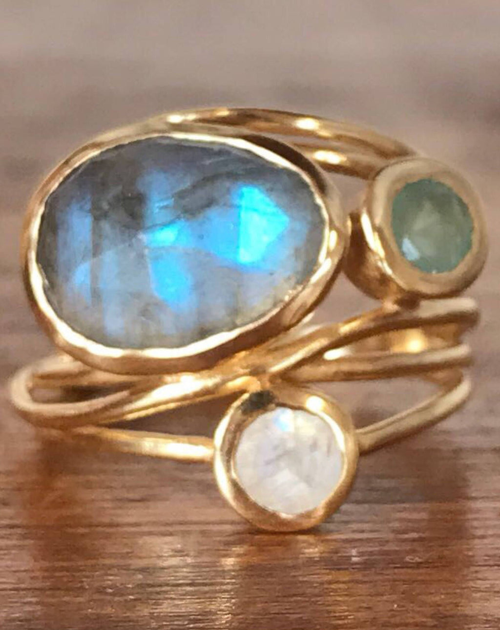 Gold Plated 18k Ring * Labradorite * Moonstone * Aqua Chalcedony *Gemstones * Handmade * Statement * Natural * Organic * Gift for her BJR100