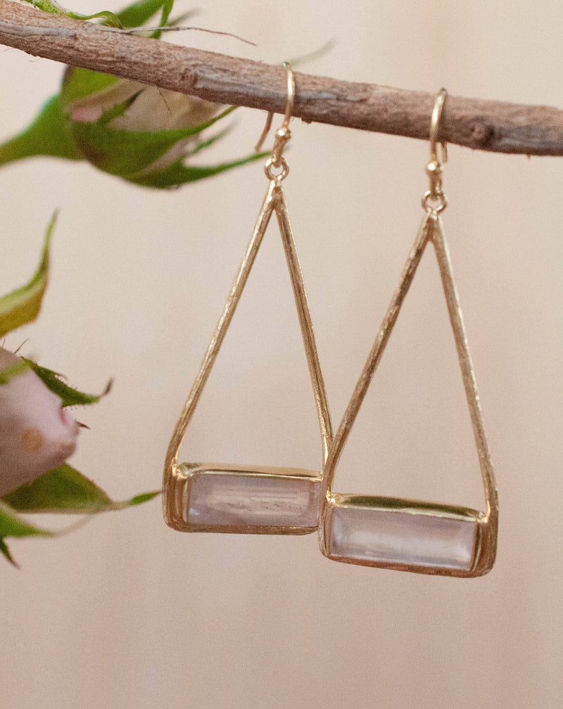 Marina Earrings * Rose Quartz * Gold Plated 18k or Silver Plated * BJE004A