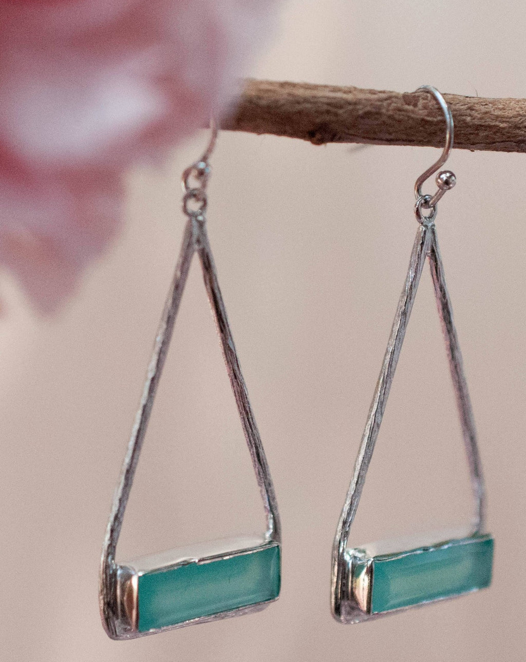 Marina Earrings * Aqua Chalcedony * Gold Plated 18k or Silver Plated * BJE005B