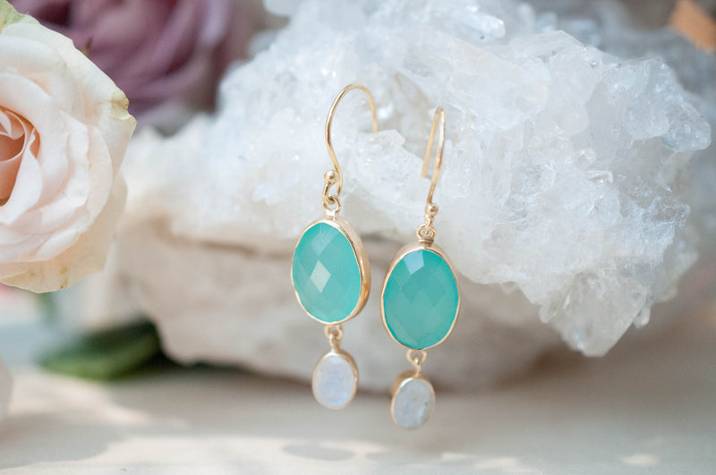 Aqua Chalcedony & Moonstone Gold Earrings * Gold Plated 18k * Handmade * Gemstone * Oval * Dangle * Gold * BJE072