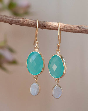 Karine Earrings * Aqua Chalcedony & Moonstone * Gold Plated 18k * BJE072