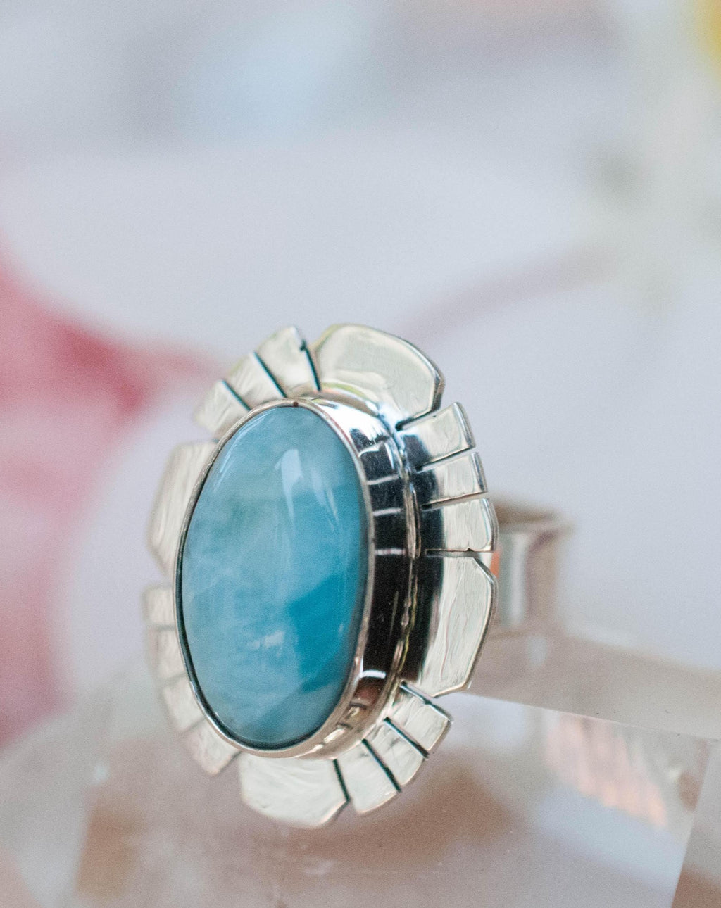 Larimar Ring * Sterling Silver 925 * Gemstone * Natural * Statement * Handmade * Semi Precious Stone * Bohemian * Chic * Boho * BJR193