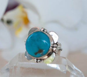 Turquoise Flower Ring * Sterling Silver 925 * Gemstone * Blue * Natural * Statement * Handmade *Semi Precious Stone *Bohemian *Chic *BJR230