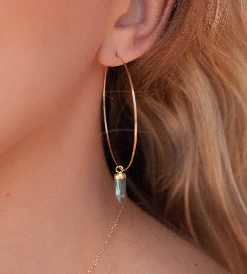 Labradorite  Sterling Silver or Gold Filled Hoops Earrings *Handmade * boho * Gemstone * Hoops * gift for her * Large * ByCia * BJE102B