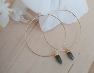 Labradorite  Gold Filled or Sterling Silver Hoops Earrings *Handmade * boho * Gemstone * Hoops * gift for her * Large * ByCia * BJE102A
