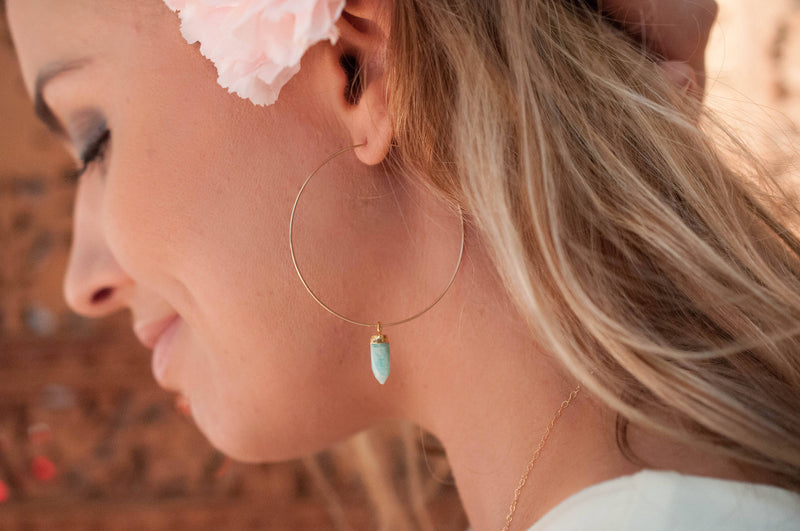 Amazonite Hoops  Sterling Silver 925 or Gold Filled Earrings * Handmade * boho * Gemstone * Hoops * gift for her * Large * ByCia * BJE137B