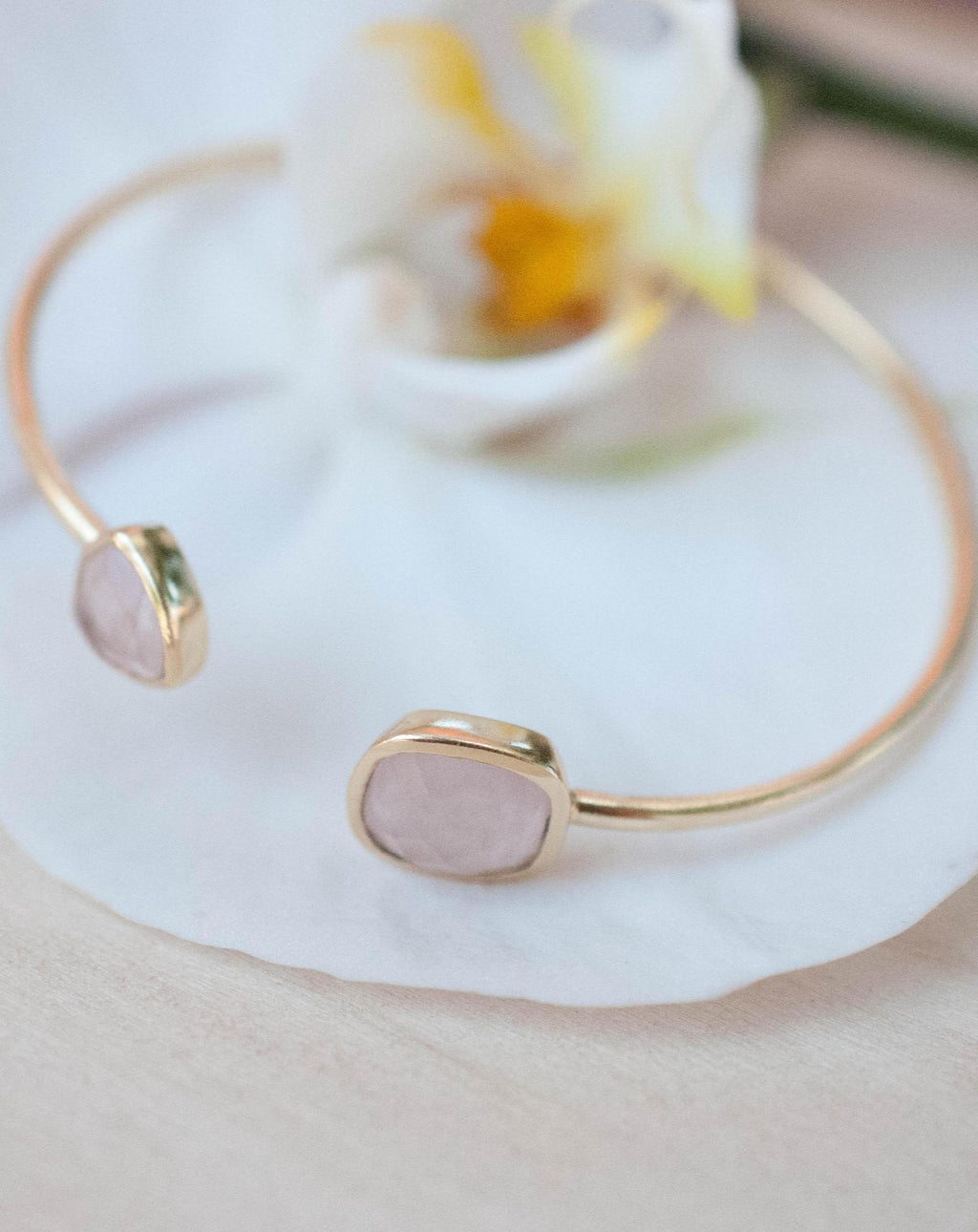 Rose Quartz Bangle Bracelet * Gold Plated 18k or Silver Plated * Gemstone * Gypsy * Hippie * Adjustable * Statement *  Stacking * BJB004A