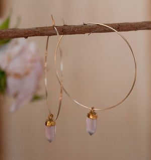 Rose Quartz  Hoops Sterling Silver or Gold Filled Earrings * Handmade * boho * Gemstone * Hoops * gift for her * Large * ByCia * BJE101B