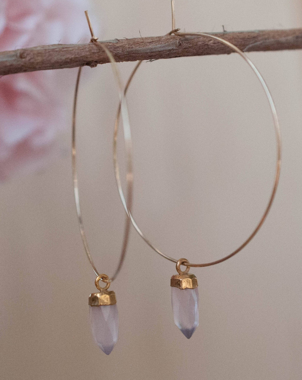Amelia Earrings * Rose Quartz  * Sterling Silver or Gold Filled * BJE101B