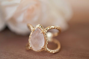 Rose Quartz Ring * Hammered Band * Gold Ring * Statement Ring * Gemstone Ring * Pink * Wedding Ring * Organic Ring * Natural* BJR142