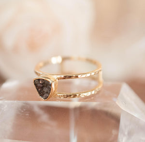 Black Diamond Ring * Triangular * Triangle *Gold Vermeil * Sparkle * Engagement * Bridal *Bridesmaid * Handmade* Rough Mosaic* Uneven BJR083