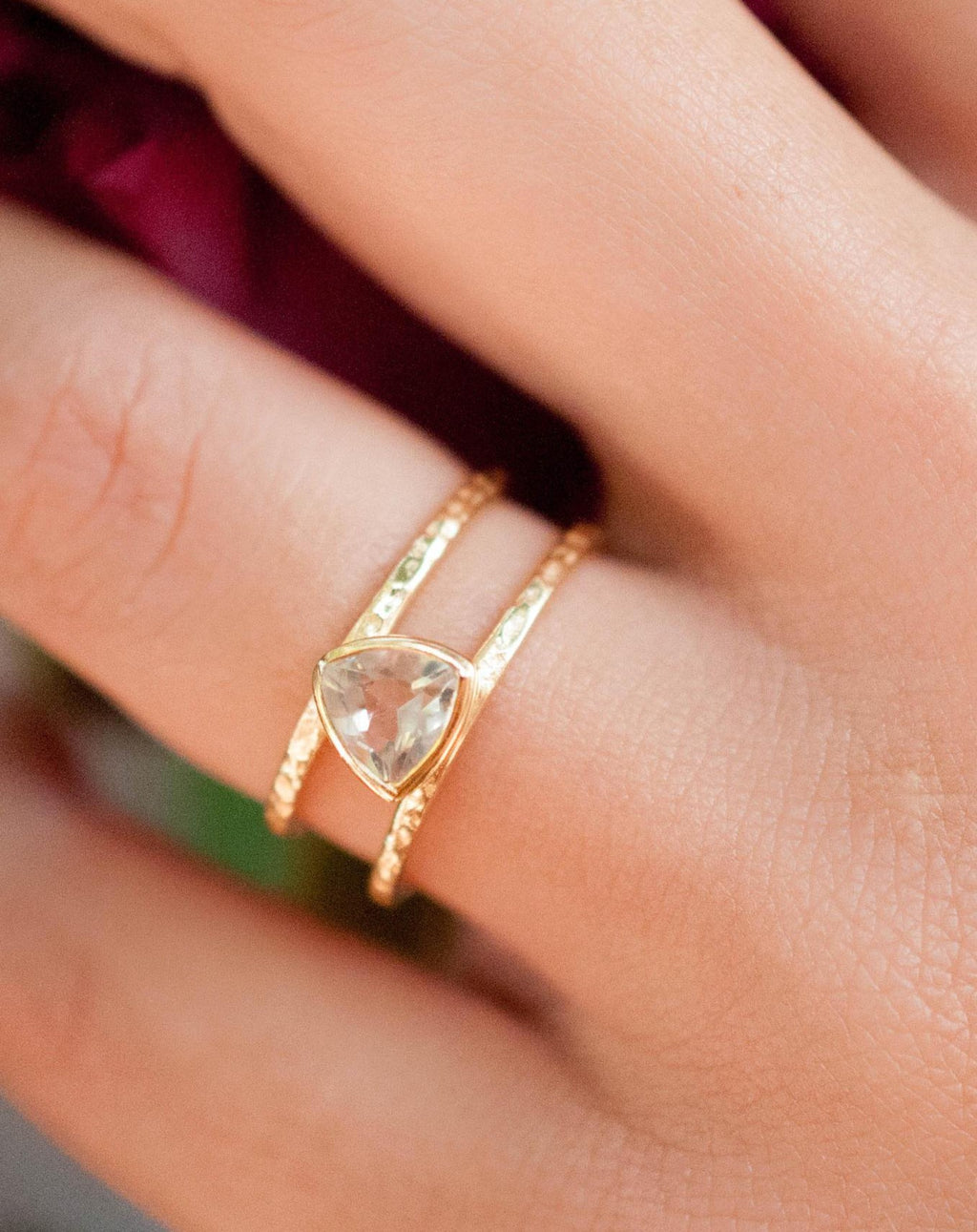 White Topaz  Triangle Gold Vermeil Ring * Wedding * Engagement * Handmade * Statement * Bycila *Boho *Hippie * Bridal * Bridesmaid BJR084