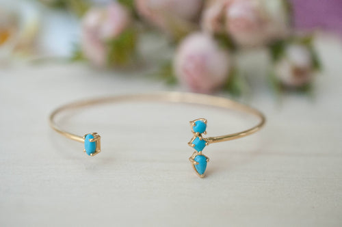 Turquoise Bohemian Gold Bangle Bracelet (BJB002)