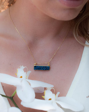 Leone Necklace * Blue Druzy * Gold Vermeil or Sterling Silver 925 * BJN046