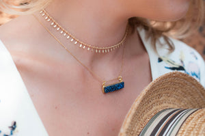 Blue Druzy Bar Necklace * Druzy Necklace * Gold Vermeil Necklace * Gemstone * Boho * Delicate * Bridesmaid * Gift for her BJN046