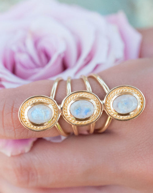 Acacia Ring - Rainbow Moonstone (BJR050)